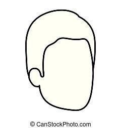 Sketch-Silhouette von Mann ohne Gesicht mit einfachen Haaren.