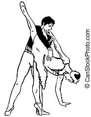 Sketch-Tänzer sind in der Tanz Pose