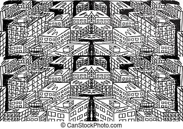 Sketch von abstrakter Stadt. Vektor Illustration