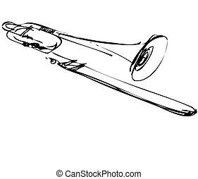 Sketch von Kupfer-Musical Instrument Pombone.