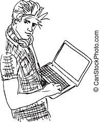 Sketch von Young Man mit Laptop. Vektor Illustration