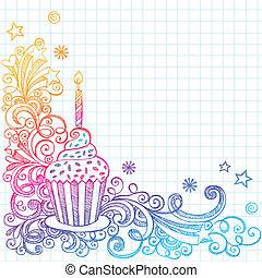 Sketchy Cupcake Geburtstagsdoodle