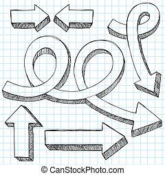 Sketchy doodle 3D Pfeile Vektor eingestellt.