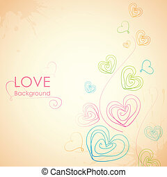 Sketchy heart in love background.