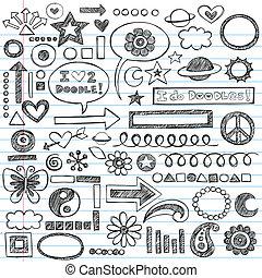Sketchy Notizbuch-Doodles Icon Set