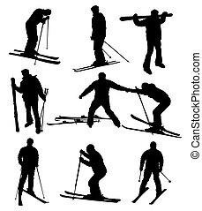 Ski-Silhouette bereit