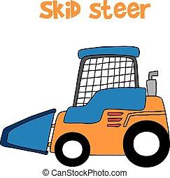 Skid Steer Cartoon Vektorkunst.