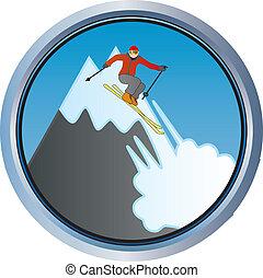 Skifahren auf dem Berg.