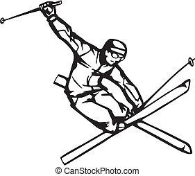 Skifahren und Snowboarden
