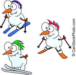 Skifahrende Schneemänner