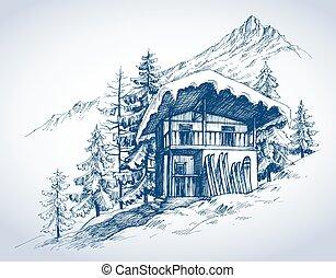 Skihütte in den Bergen.