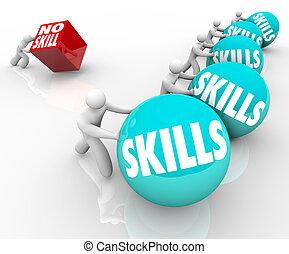 Skill gegen keine Fähigkeiten, Wettbewerb ungelernte und qualifizierte Menschen