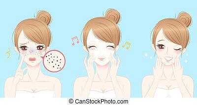 skincare, problem, frau