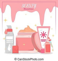 skincare, produkte, karikatur, routine, schoenheit, karte, kosmetikartikel