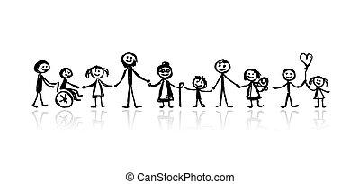 skizze, design, dein, familie, zusammen