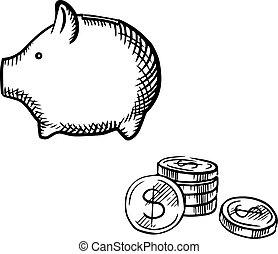 skizze, geldmünzen, spaardose, stapel