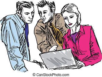 skizze, geschaeftswelt, arbeitende leute, erfolgreich, büro., laptop, abbildung, vektor