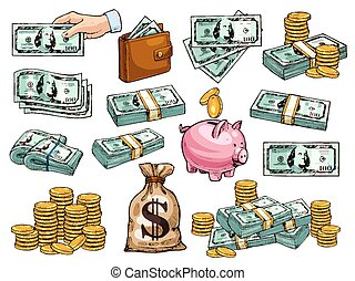 skizze, heiligenbilder, geld, dollar, geldmünzen, vektor