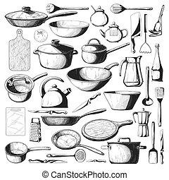 skizze, satz, groß, realistisch, tableware., dishes.