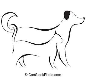 skizze, vektor, hund, katz