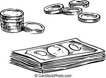 skizzen, geldmünzen, dollar, stapel, rechnungen