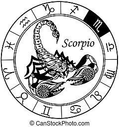 Skorpion zodiac schwarzweiß.