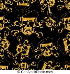 Skull emblem in einem Beret Seamless.
