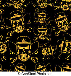 Skull emblem in einer Cowboyhut Naht.