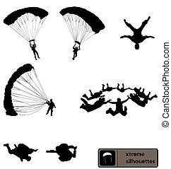Skydiving Silhouettes Sammlung.