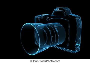 SLR Camera 3D hat Röntgenblau transparent gemacht.