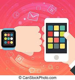 Smart Uhr und Smartphone-Synchro