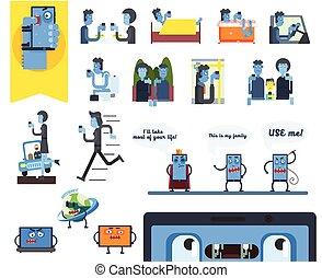 Smartphone-Abhängigkeit. Vector Illustration eingestellt