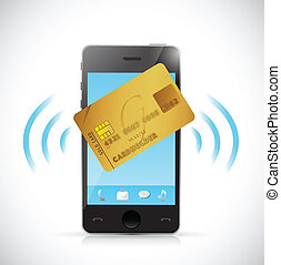 Smartphone and credit card shopping concept.