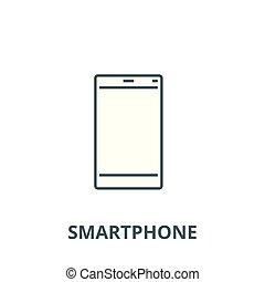 Smartphone-Anzeigen-Vektorlinie Icon, lineares Konzept, Umrisszeichen, Symbol.