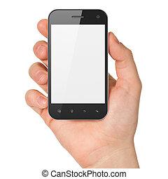smartphone, besitz, render, generisch, hand, hintergrund., handy, weißes, klug, 3d
