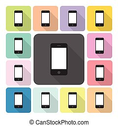 Smartphone Icon Farbsatz Vektorgrafik.
