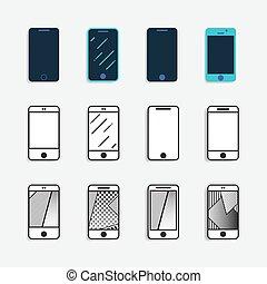 Smartphone Icons setzen Vektorgrafik