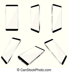 Smartphone realistisch in weißer Farbpalette.
