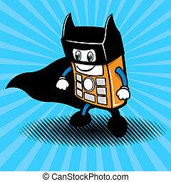 smartphone, super-hero, abbildung