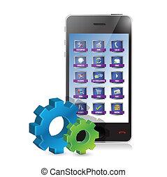 Smartphone und ein Set von Getriebe Illustration