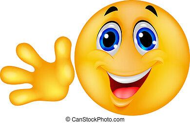 Smiley Emoticon winkt Hand