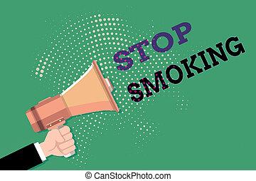 smoking., foto, hu, besitz, oder, qualmende , stopschild, mann, discontinuing, halftone, packend, text, begrifflich, megaphon, pattern., hand, prozess, ausstellung, aufgeben, analyse, tabak, punktiert