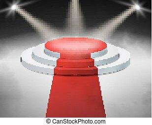 Smoky Bühnenpodium beleuchtet mit Rampenlicht für die Preisverleihung. Vector Illustration.