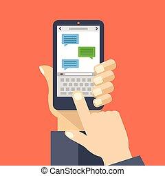 SMS App auf Smartphone-Bildschirm