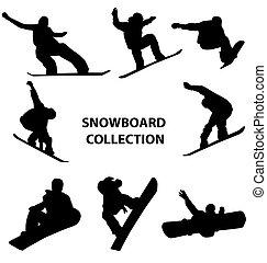 Snowboard-Silhouettes-Sammlung