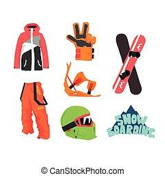 Snowboardausrüstung.