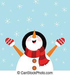 Snowman genießt Schnee.