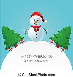 Snowman hat Weihnachtsbaum und Geschenk