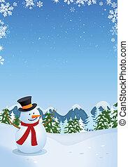 Snowman in Winterlandschaft