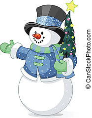 Snowman mit Weihnachtsbaum